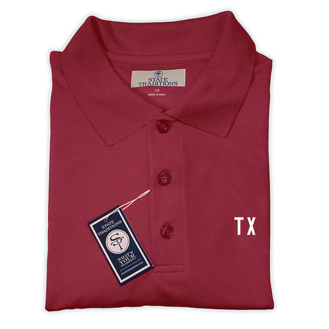 "Maroon and White Texas ""TX"" Gameday Polo"