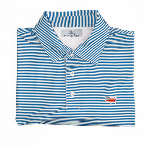 "America Traditional ""Tips"" Performance Polo Light Blue"
