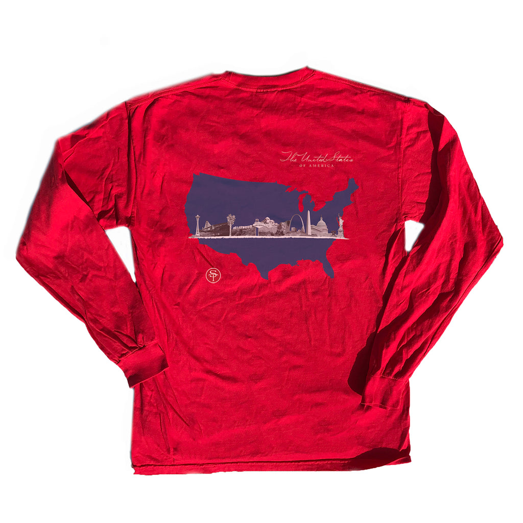 America Skyline Long Sleeve T-Shirt Red