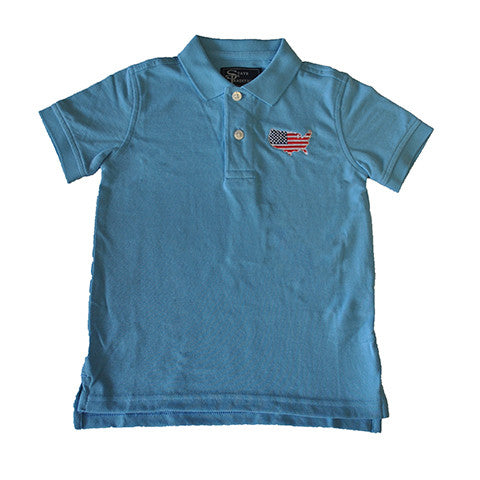 America Traditional Youth Polo Light Blue