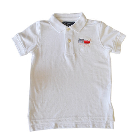 America Traditional Youth Polo White
