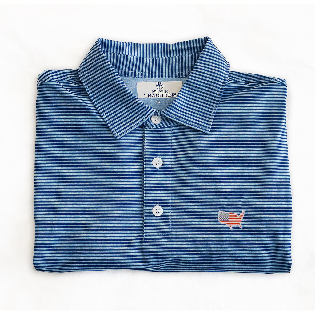 "America Traditional ""Tips"" Performance Polo Blue"