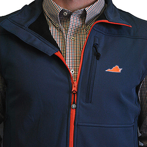 Virginia Charlottesville Soft Shell Vest Navy with Orange Trim