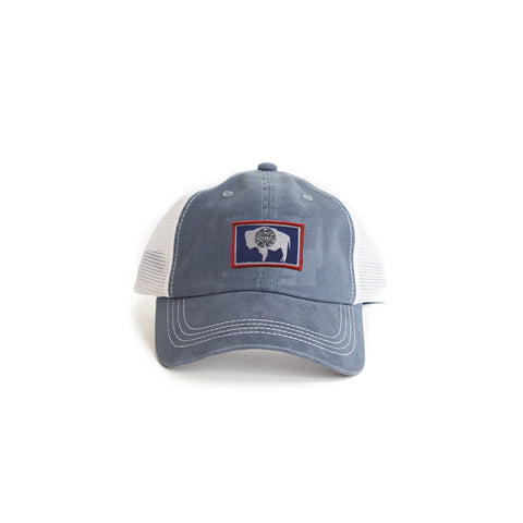 Wyoming Flag Trucker Hat Blue