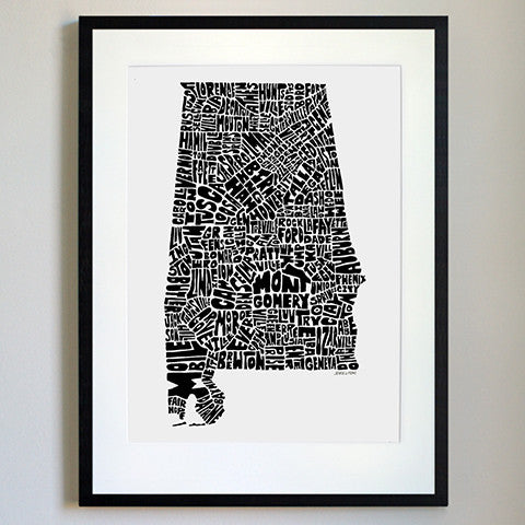 Alabama Typography Map Black/White Print