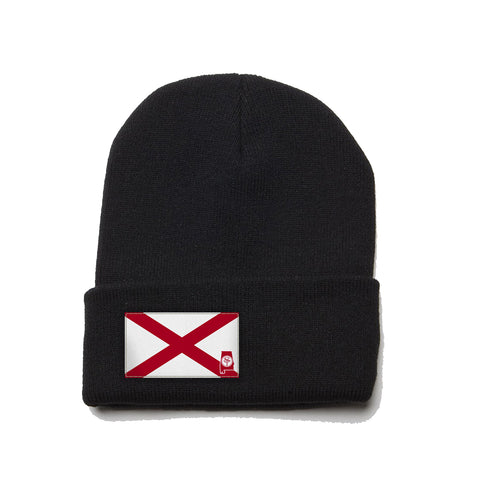 Black Beanie with Alabama Flag Patch, al beanie