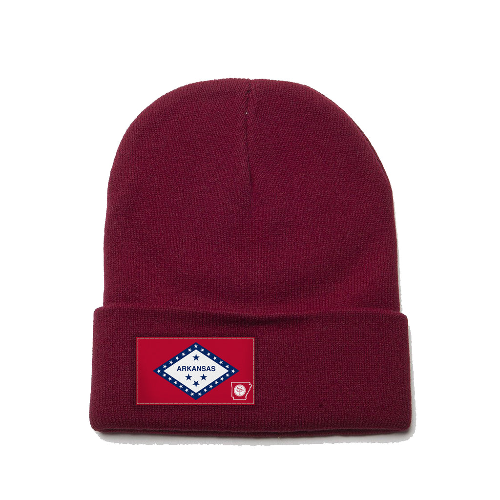 Maroon Beanie with Arkansas Flag Patch by State Traditions