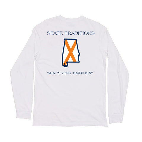 Alabama Auburn Traditional Long Sleeve T-Shirt White