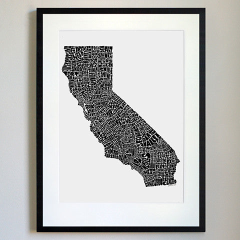 California Typography Map Black/White Print