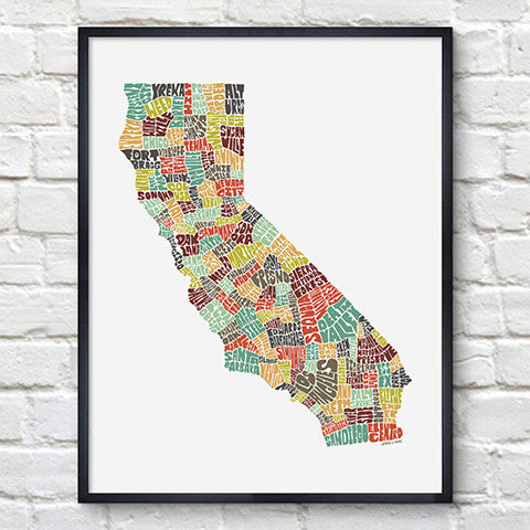 California Typography Map Color Print