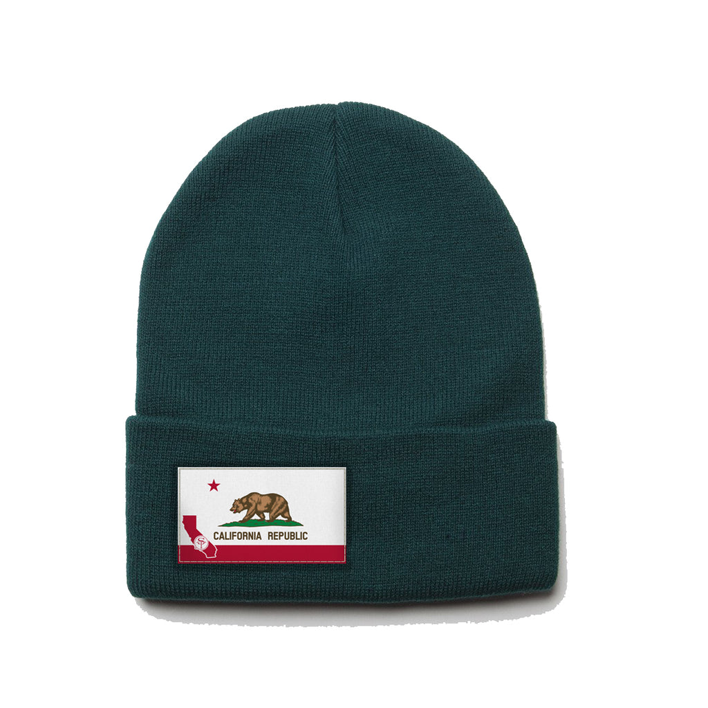 9e997dd9559 ... Forest Green Beanie with California Flag Patch ...