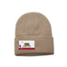 Khaki Beanie with California Flag Patch