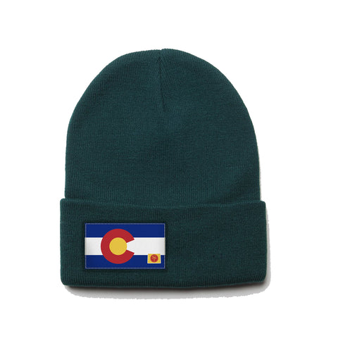 Forest Green Beanie with Colorado Flag Patch by State Traditions