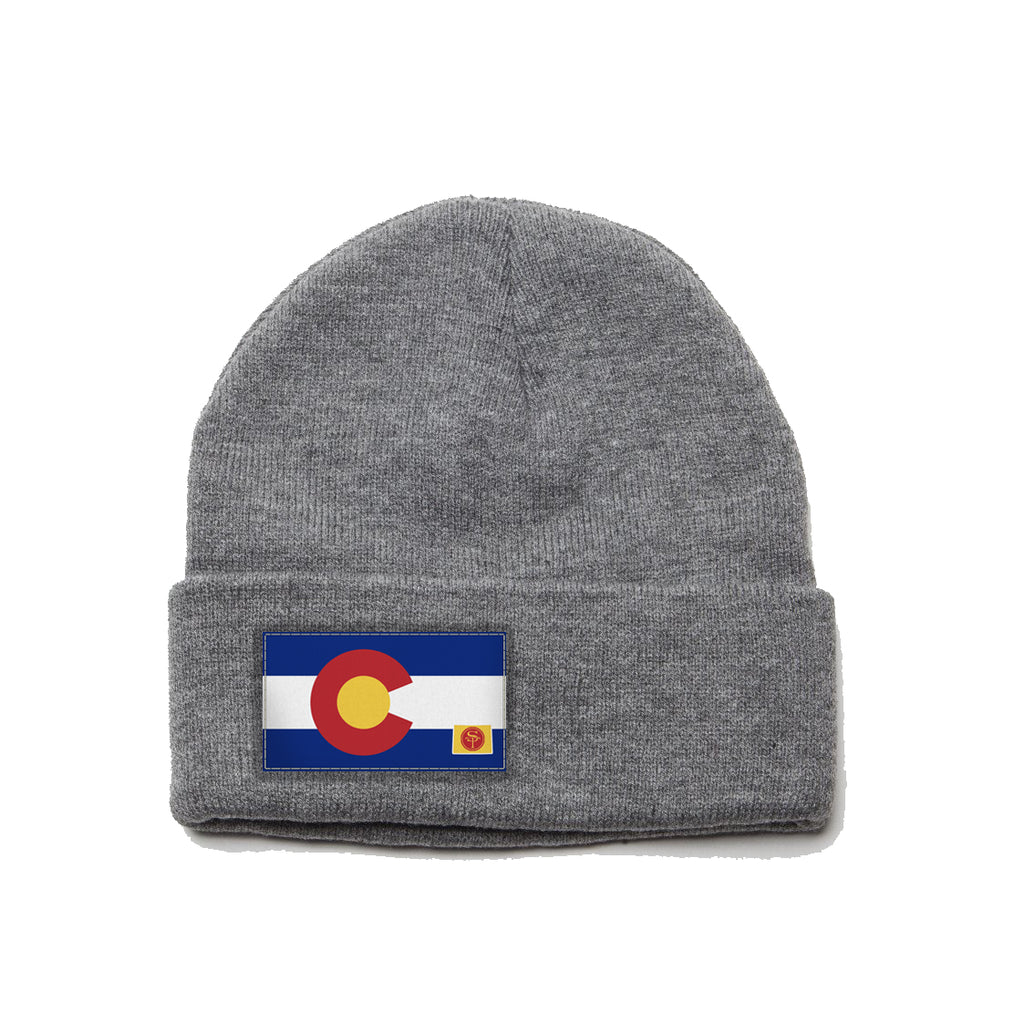 Heather Gray Beanie with Colorado Flag Patch by State Traditions