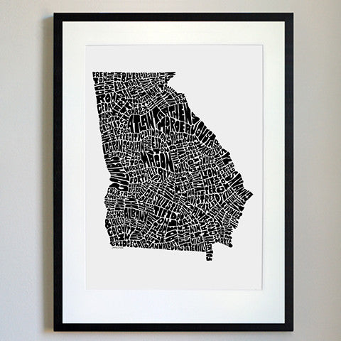 Georgia Typography Map Black/White Print