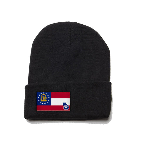 Black Beanie with Georgia Flag Patch by State Traditions