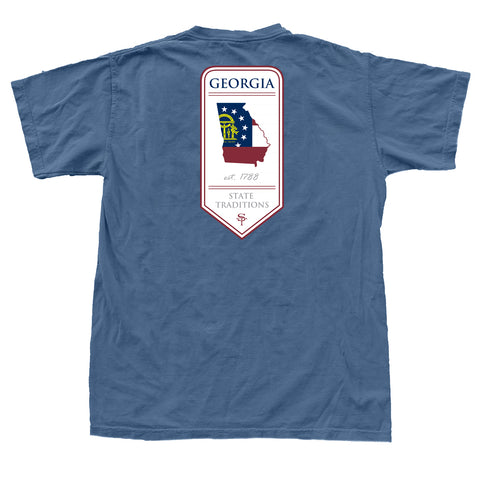 Georgia 1788 Banner T-Shirt Steel Blue
