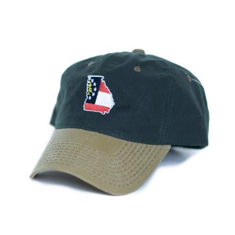 Georgia Traditional Hat Waxed Canvas Green w/ Tan