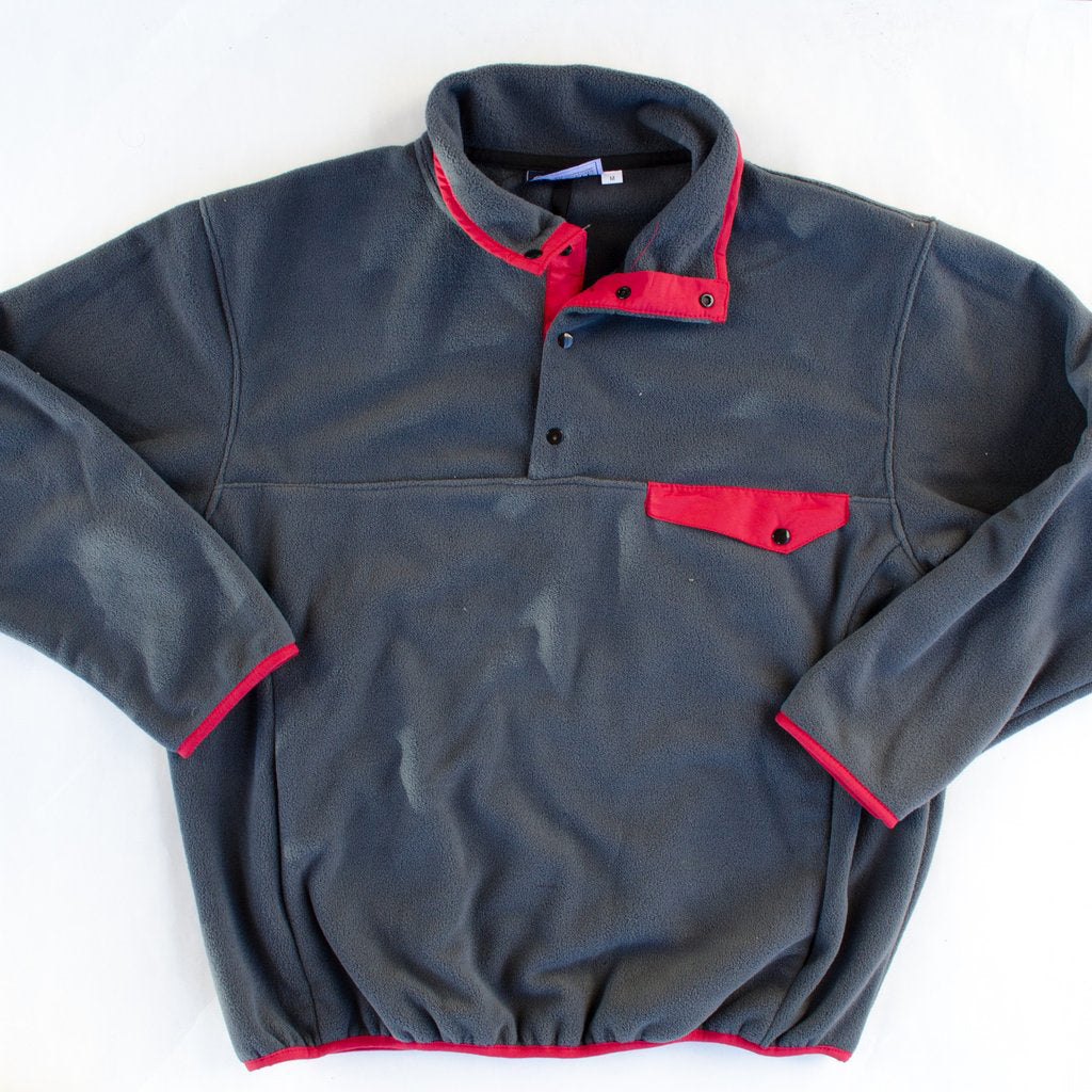 Fleece Pullover Grey and Crimson