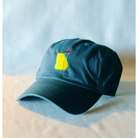 Gulf Blue Augusta, Augusta Georgia, Green and Yellow, Yellow Augusta on Green, Cap, Green Hat, Golf Hat, Cotton Slouch, Spring Hat, Tradition, One size, adjustable