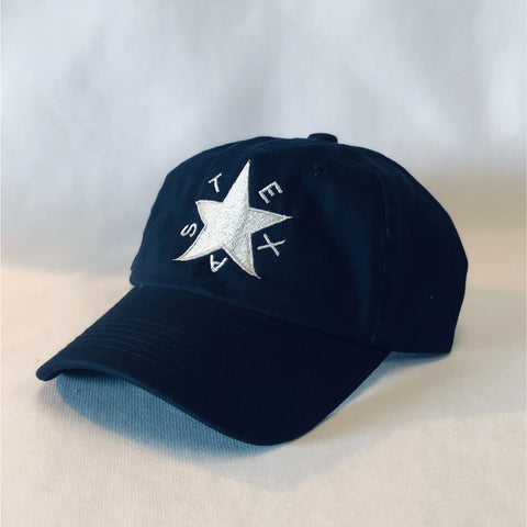 Lone Star, TEXAS, Texas Star, TEX, Navy Hat, Cotton Slouch Hat, Dad Cap, Quality, Velcro Closure, State of Texas, Dallas, Ft. Worth, Lubbock, Houston