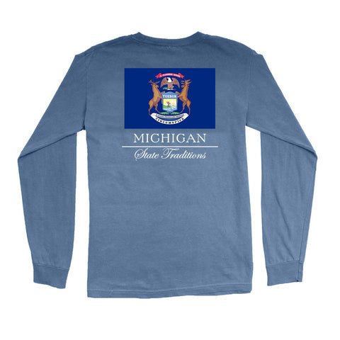 Michigan State Flag Long Sleeve T-Shirt