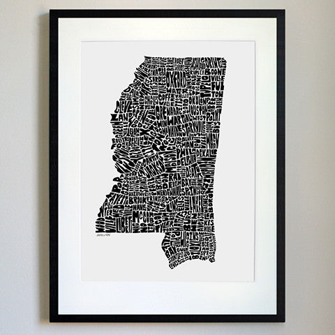 Mississippi Typography Map Black/White Print