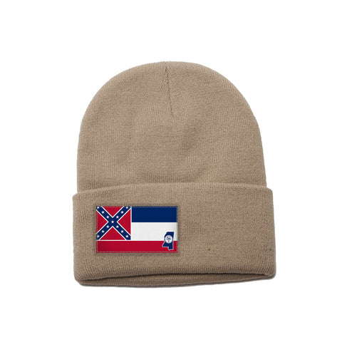 Khaki Beanie with Mississippi Flag Patch by State Traditions