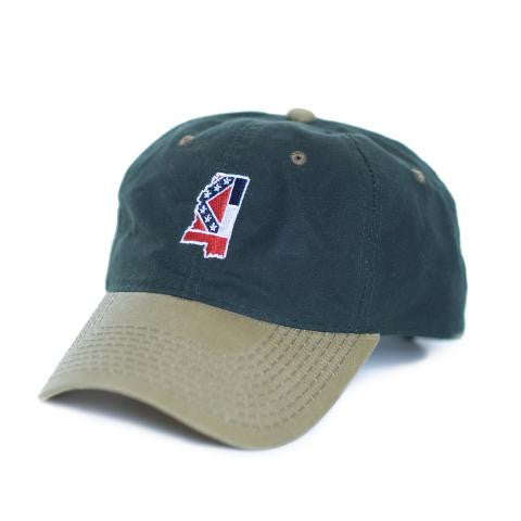 Mississippi Traditional Hat Waxed Canvas Green w/ Tan