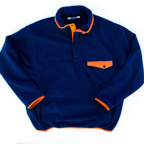 Fleece Pullover Navy and Orange