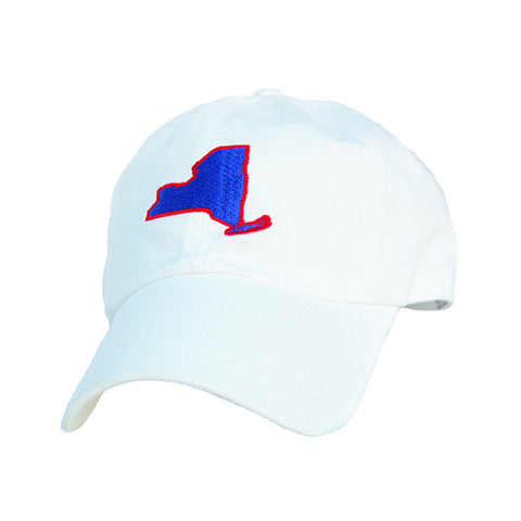 New York, New York White Hat, New York Cap, White with Red and Blue, Dad Hat, 6 panel, cotton slouch, New York Gameday, Football