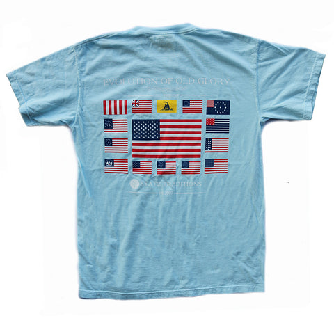 USA, America, Old Glory, Evolution of Old Glory, The Progression of Freedom,  Light Blue T-Shirt,