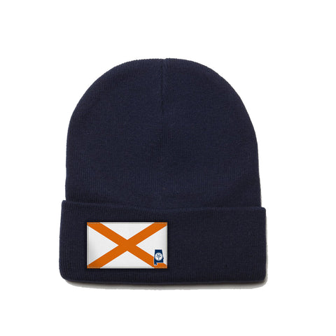 Navy Beanie with Orange Alabama Flag Patch