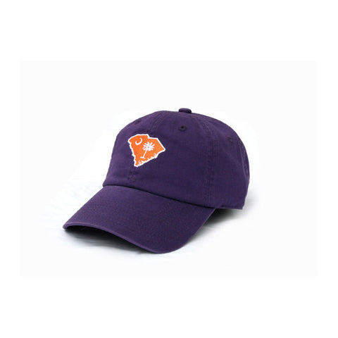 sc flag symbols in clemson, purple hat,