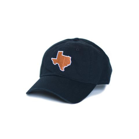 TX Hat, Texas Hats, Texas, Black hat with burnt orange state of TX, Texas embroidery, Austin Texas, Dad Cap, Cotton Slouch Hat, Texas Cap.  texas outline hat