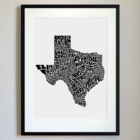 Texas Typography Map Black/White Print