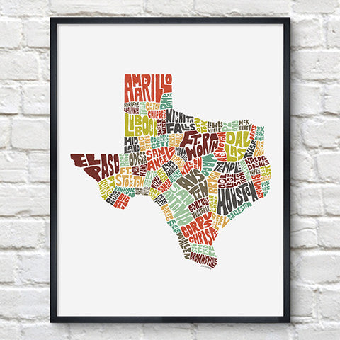 Texas Typography Map Color Print