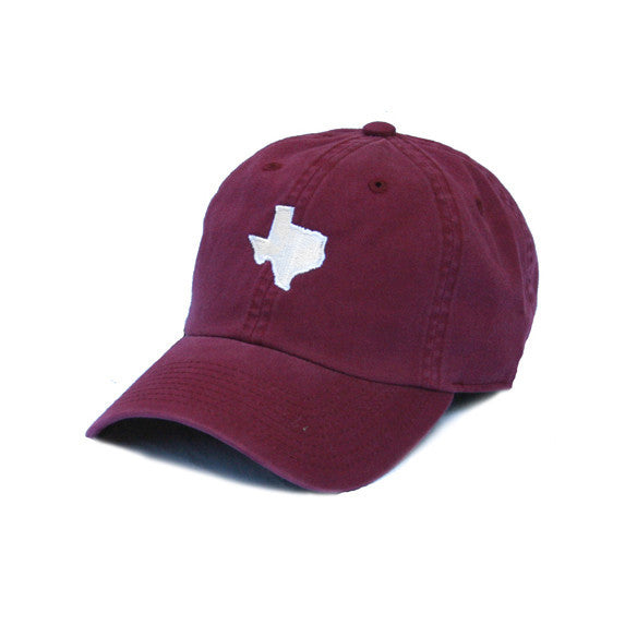 Texas headwear, Ball Cap, TX Hat, Texas Hats, Texas, Maroon hat with white state of TX, Texas embroidery, College Station Texas, Dad Cap, Cotton Slouch Hat, Texas Cap
