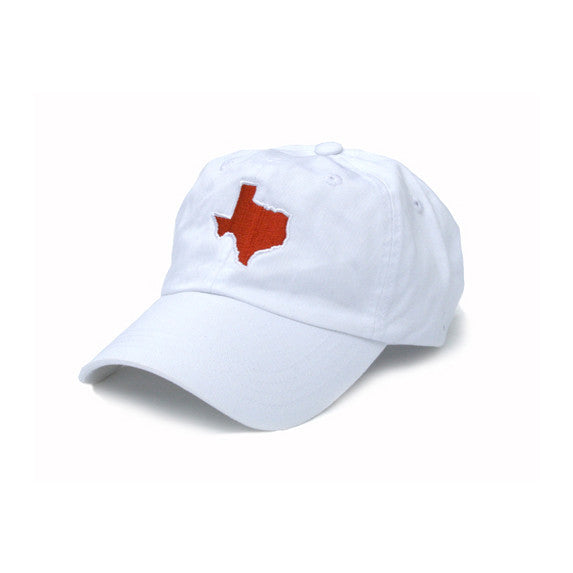 TX Hat, Texas Hats, Texas, White hat with burnt orange state of TX, Texas embroidery, Austin Texas, Dad Cap, Cotton Slouch Hat, Texas Cap