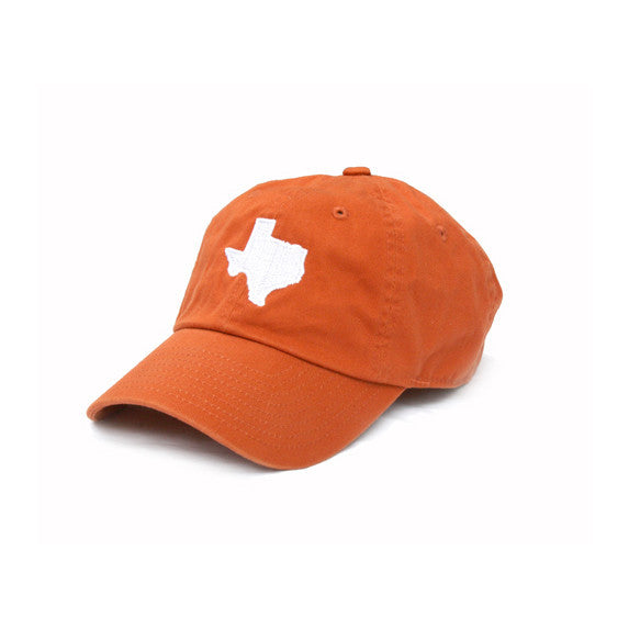 TX Hat, Texas Hats, Texas, Burnt Orange hat with white state of TX, Texas embroidery, Austin Texas, Dad Cap, Cotton Slouch Hat, Texas Cap.  texas outline hat