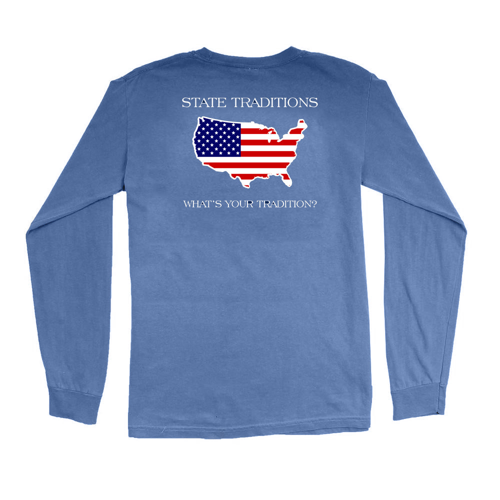 America Traditional Long Sleeve T-Shirt Navy