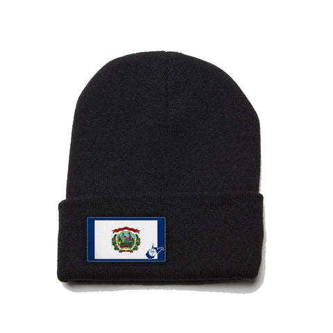 Black Beanie with West Virginia Flag Patch by State Traditions