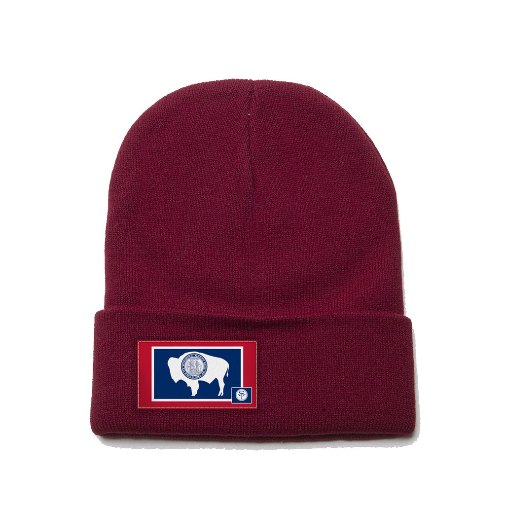 Maroon Beanie with Wyoming Flag Patch by State Tradition, Wyoming Flag, Wyoming Hat Rack, Wyoming Flag Hat Rack, Jackson Hole Wall Art, Wyoming Wall Art, Equality State Flag, Equality State, Cowboy State, Big Wyoming Flag, Cowboy State Hat Rack, Man Cave Decor, Wooden Hat Rack, Wyoming Territory, Snake River, Grand Tetons, Elk Refuge, Cheyenne, Flag of Wyoming, American Bison, Yellowstone, Park County