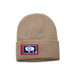 Khaki Beanie with Wyoming Flag Patch by State Traditions