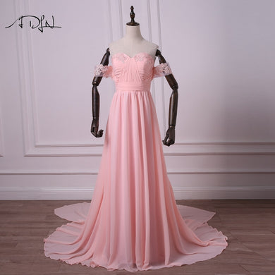 ADLN Simple Colored Wedding Dresses Off-the-shoulder Chiffon Beach Bridal  Gown with Detachable 9bef85ba2cc9