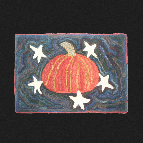 Pumpkin and Five Stars Rug Kit or Pattern