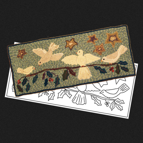 Christmas Doves Rug Kit or Pattern