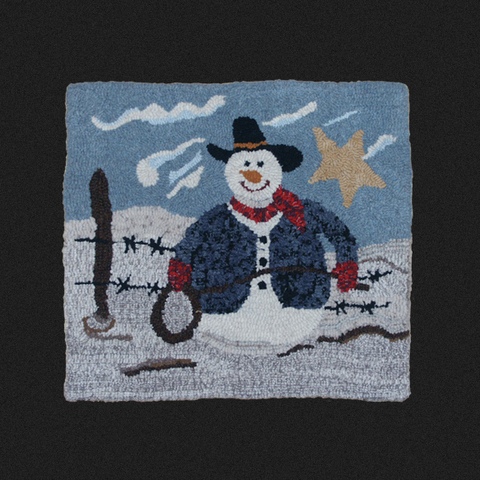 Cowboy Snowman Rug Kit or Pattern