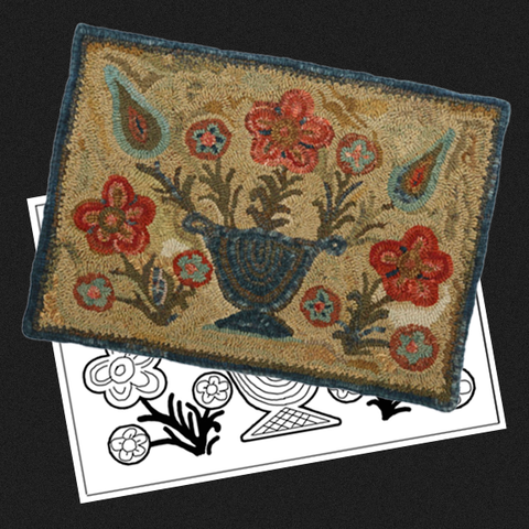 Flowers in Vase Rug Kit or Pattern - Light Background