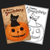 Halloween Cat & Pumpkin Postcard Rug Kit or Pattern